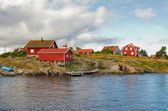 Typical red houses in Stockholm archipelago. — Stock Photo