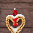 Rustic straw heart, christmas decoration. — Foto de Stock