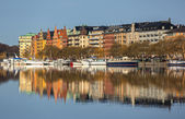 Waterfront apartment buildings. — Stock Photo