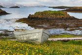 Viejo barco en la costa de islandia. — Foto de Stock