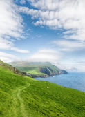 Trekking on the scenic island Mykines, Faroe islands. — Stock Photo