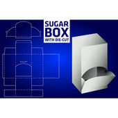 Sugar box with die-cut — Stock Vector