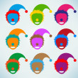 Abstract vector clown heads — Stock Vector
