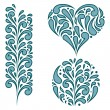 Vector set of swirling decorative elements — Stock Vector