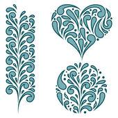 Vector set of swirling decorative elements — Stock Vector