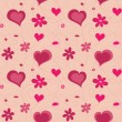 Valentine hearts seamless pattern and flowers — Imagen vectorial