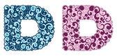 Curling alphabet. Letter D — Stock Vector