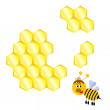 Stock Vector: Cartoon happy bee with honeycomb