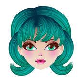 Doll face. Vector illustration. — Stock Vector
