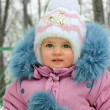 Baby in the winter time — Stock Photo