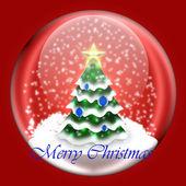 Shiny ball with Christmas tree inside — Stock Photo