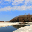 Melting ice on the river — Stock Photo