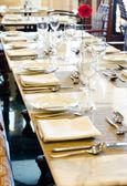 Prepared table for dinner — Stock Photo