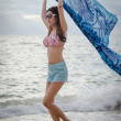 Girl on the beach — Stockfoto