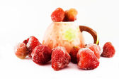 Freezed strawberry and strawberry cup — Stock Photo