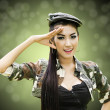 Stock Photo: Sexy women in army clothes