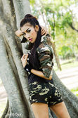 Sexy girl in military suit — Stock Photo