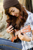 Lady musician — Stock Photo