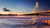 "The Pivdennyi (""Southern"") Bridge in Kiev — Stock Photo"
