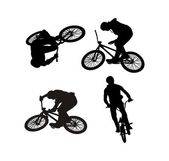 A vector image contours of the athlete engaged in acrobatics on a Bicycle — Stock Vector