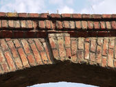 Bricklaying of an arch of one of old houses in Saratov — Stock Photo
