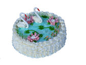 Cake with swans. — Stock Photo