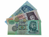 Hungarian banknotes and coins — Stock Photo