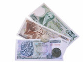 Banknotes and coins of Greece before euro introduction — Stock Photo