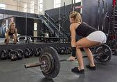 Fitness model strength training — Stock Photo