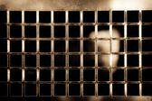 Gyllene metallisk rutnät — Stockfoto
