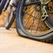 Bicycle flat tyre — Stock Photo