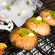 Mushrooms and sea food on barbecue, Greece. — Stock Photo