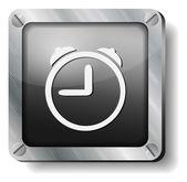 Steel alarm clock icon — Stock Vector