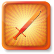 Orange  sword icon — Stock Vector