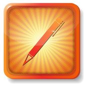 Icône de crayon orange — Vecteur