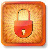 Orange closed lock icon — Stock Vector