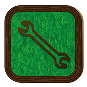 Tree-herbal wrench icon — Stok Vektör