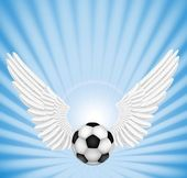 Soccer ball with wings — 图库矢量图片