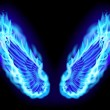 Blue fire wings — Stock Photo
