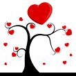 Tree with red hearts — Vettoriali Stock