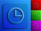 Clock face monochrome icons — Stock Vector