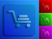 Shopping cart monochrome icons — Stock Vector