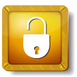 Golden open lock icon — Stock Vector