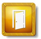 黄金の出口のドアのアイコン — ストックベクタ