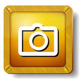 Golden photo icon — Stock Vector