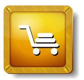 Golden shopping cart icon — Stock Vector