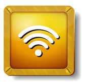 Golden wi fi icon — Stock Vector