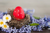 Red Easter egg in a nest — Stock Photo