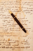 Fountain pen on letter — Stock Photo
