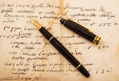 Fountain pen on letter — Stock Photo